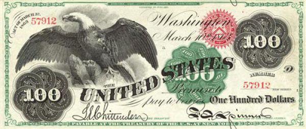 100 долларов США образца 1862 года