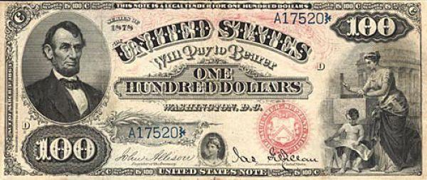 100 долларов США образца 1878 года