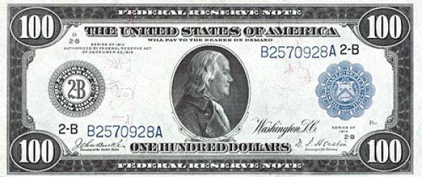 100 долларов США образца 1914 года