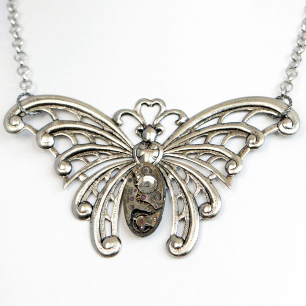 Кулон-бабочка стимпанк