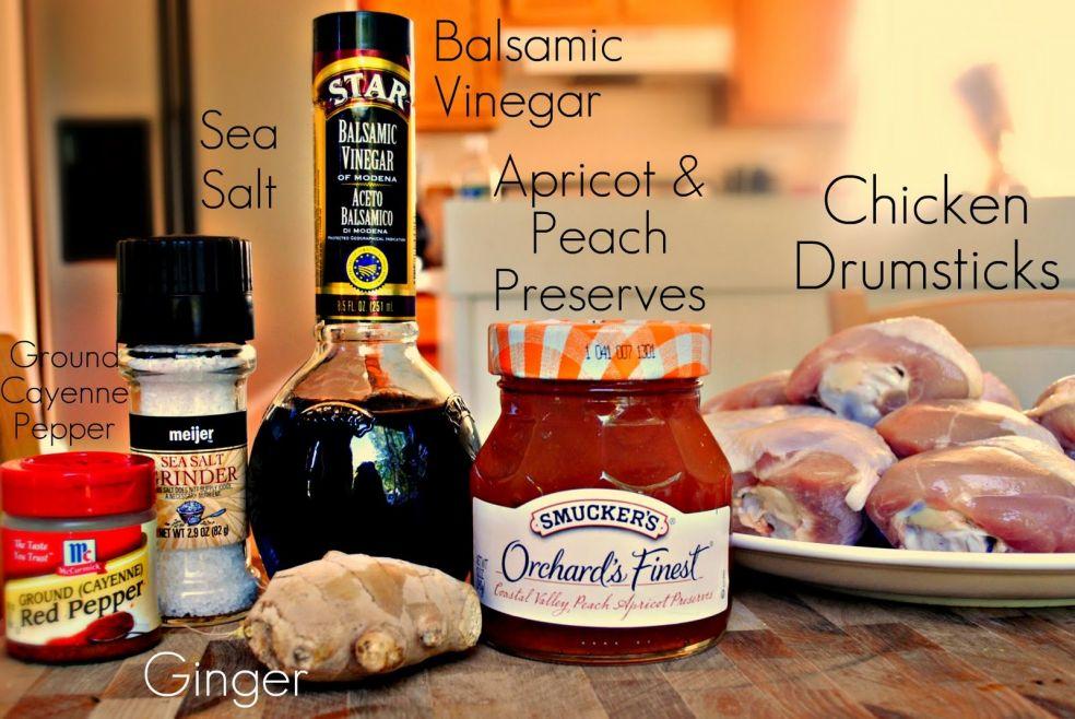 Кайенский перец, морская соль, имбирь, бальзамический уксус, абрикосово-персивовый джем, голени курицы