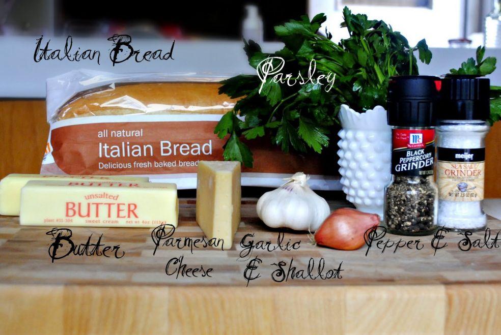 Итальянский хлеб, петрушка, сливочное масло, сыр пармезан, чеснок, лук шаллот, соль и перец